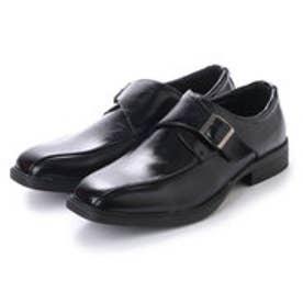 紳士ビジネスシューズ・スワールモカ モンクストラップ 流れモカ 型押しパンチング模様 ブラック・aw_16112 (BLACK)
