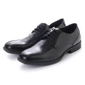 紳士ビジネスシューズ・スワールモカ 流れモカ 型押しパンチング模様 ブラック・aw_16108 (BLACK)