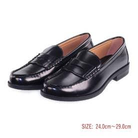 メンズ ローファー カジュアル ビジネスシューズ 靴 学生 人工皮革 防滑底 3E 幅広 EEE ゆったりサイズ aw_20175(BLACK) (ブラック)
