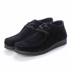 メンズ カジュアルブーツ ミドルカット PUスエード調 3E 幅広 EEE aw_19123(BLACK) (ブラック)