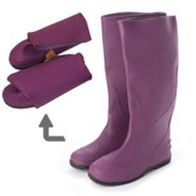 Folding Rain Boot レインブーツパッカブル携帯用巾着袋付・aw_19044 (PURPLE)