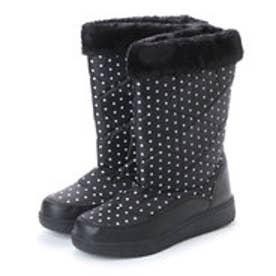 防寒ブーツ ボア付き保温効果の高いニット素材使用・aw_17688(ブラック) (BLACK)