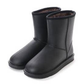 レディース レインブーツ ムートンブーツ風 あったかボア 裏起毛 完全防水 防寒 長靴 婦人 af_16604 (BLACK)