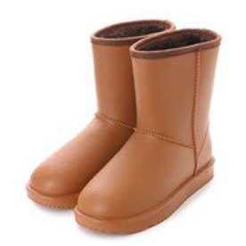 レディース レインブーツ ムートンブーツ風 あったかボア 裏起毛 完全防水 防寒 長靴 婦人 af_16604 (BROWN)