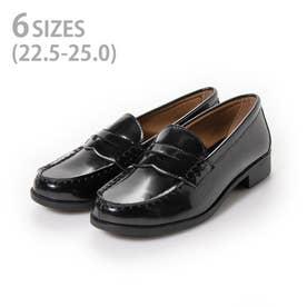 レディース ローファー カジュアル ビジネスシューズ 靴 学生 人工皮革 防滑底 3E 幅広 EEE aw_20475 (BLACK) (ブラック)