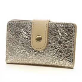 カンガルー箔レザー カードケース(ライトゴールド)