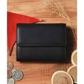 本革 レザーコンパクトミニウォレット 三つ折りミニ財布 (ブラック)
