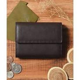 本革 レザーコンパクトミニウォレット 三つ折りミニ財布 (ダークブラウン)