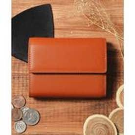 本革 レザーコンパクトミニウォレット 三つ折りミニ財布 (キャメル)