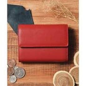 本革 レザーコンパクトミニウォレット 三つ折りミニ財布 (レッド)