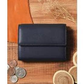 本革 レザーコンパクトミニウォレット 三つ折りミニ財布 (ネイビー)