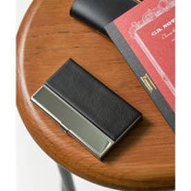 シンセティックレザー×ステンレス カードケース 名刺入れ (ブラック)