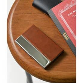 シンセティックレザー×ステンレス カードケース 名刺入れ (ブラウン)