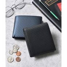 本革カーボンレザー二つ折り財布 コンパクトミニウォレット (ブラック)