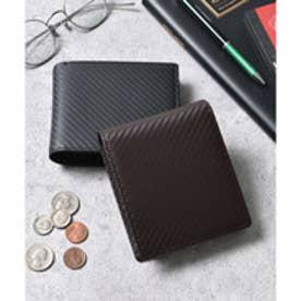 本革カーボンレザー二つ折り財布 コンパクトミニウォレット (ダークブラウン)