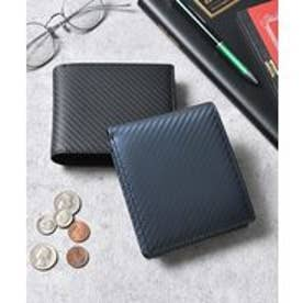 本革カーボンレザー二つ折り財布 コンパクトミニウォレット (ネイビー)