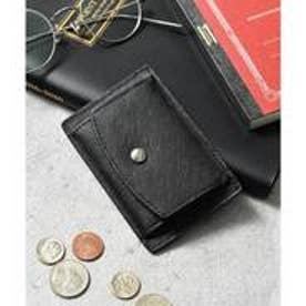 本革サフィアーノレザーコインパスカードケース コンパクトミニウォレット 財布 (ブラック)