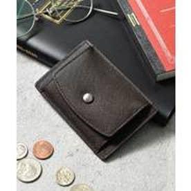本革サフィアーノレザーコインパスカードケース コンパクトミニウォレット 財布 (ダークブラウン)