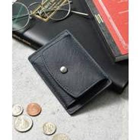 本革サフィアーノレザーコインパスカードケース コンパクトミニウォレット 財布 (ネイビー)