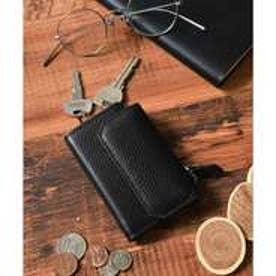 本革シュリンクレザーコインポケット付キーケース (ブラック)