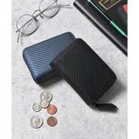 本革カーボンレザーミニウォレット コンパクト財布 コインケース カードケース (ブラック)