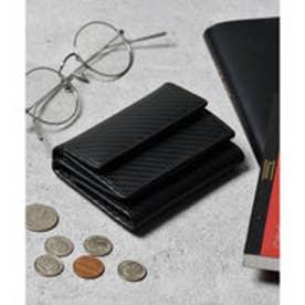 本革 カーボンレザー コンパクトミニウォレット 三つ折りミニ財布 (ブラック×ブラック)