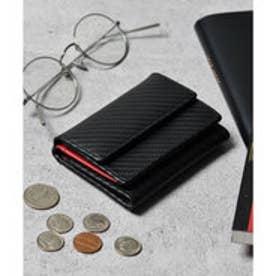 本革 カーボンレザー コンパクトミニウォレット 三つ折りミニ財布 (ブラック×レッド)