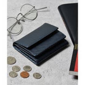 本革 カーボンレザー コンパクトミニウォレット 三つ折りミニ財布 (ネイビー)