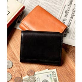 本革 クラシックレザー 三つ折り ミニ財布 コンパクト財布 (ブラック)