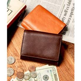 本革 クラシックレザー 三つ折り ミニ財布 コンパクト財布 (ダークブラウン)