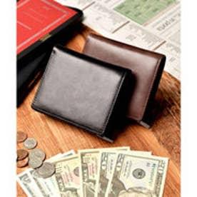本革 クラシックレザー 二つ折り財布 コンパクト財布 (ブラック)