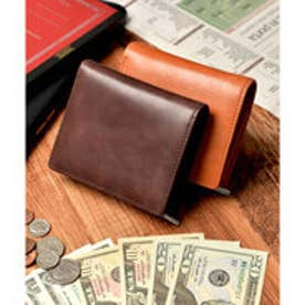 本革 クラシックレザー 二つ折り財布 コンパクト財布 (ダークブラウン)