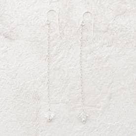 【Lma】SV925 スワロフスキー ロングチェーンピアス (アイボリー)