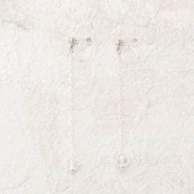 【L ma】SV925 スワロフスキー ロングチェーンイヤリング (アイボリー)