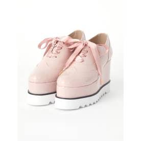 リボンレースアップ厚底シューズ (ピンク)