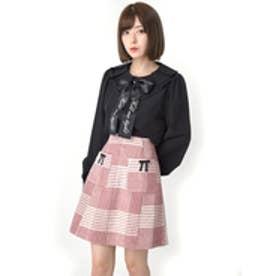 チェック台形スカート (ピンク)