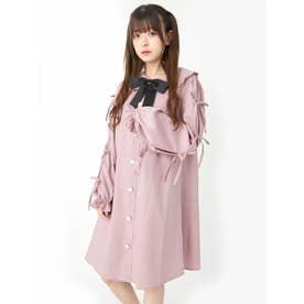袖リボンAラインワンピース(ピンク)