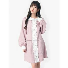 ビジューボタンスカート (ピンク)