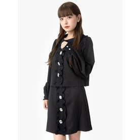 ビジューボタンスカート (ブラック)