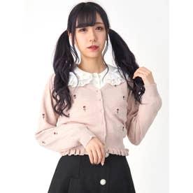 ローズ刺繍カーディガン (ピンク)
