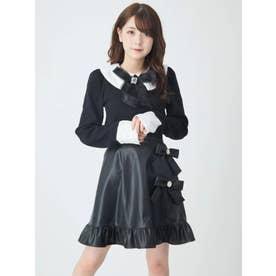 リボン合皮スカート (ブラック)