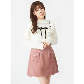 裾スカラップ台形ミニSK (ピンク)