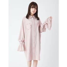 ハートポケットBigシャツチュニック (ピンク)