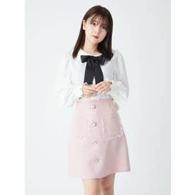 オーガンジーフリルポケット台形スカート (ピンク)