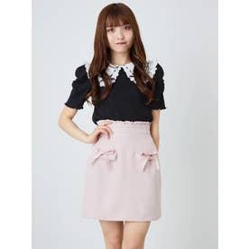リボンフラップ台形スカート (ピンク)
