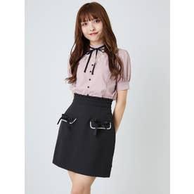 リボンフラップ台形スカート (ブラック)