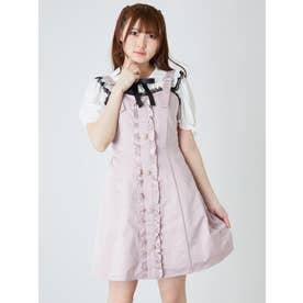 ハートボタンジャンパースカート (ピンク)