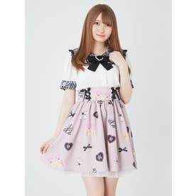 病みかわプリントギャザースカート (ピンク)