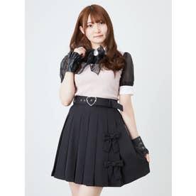 フロントリボンプリーツスカート (ブラック)