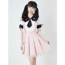 サス付きプリーツスカート (ピンク)